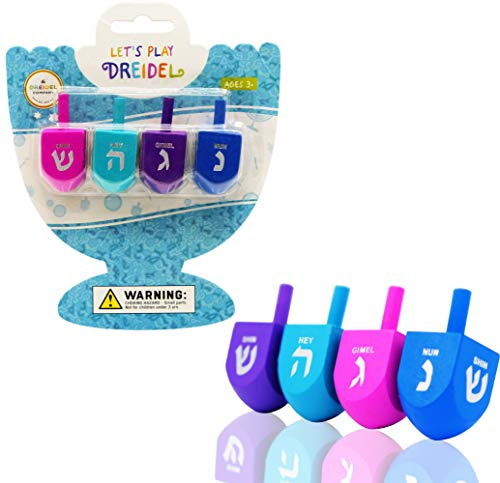 Let's Play Dreidel The Hanukkah Game 4 Multi Solid Colored Hand Painted Wooden Dreidels - Instructions Included! - D-4C