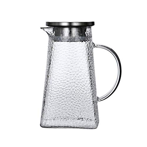 HJYSQX Jarra de agua con tapa, jarra de agua de cristal, jarra de agua resistente al calor, tetera de flores artesanales, antifugas laterales con tapa (maceta, sin taza)