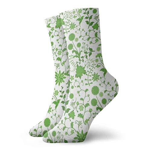 Elsaone Frühling grüne Blume Unisex Casual Socken lustige Crew Socken rutschfeste verrückte Socken Boot Socken 30 cm (11,8 Zoll)