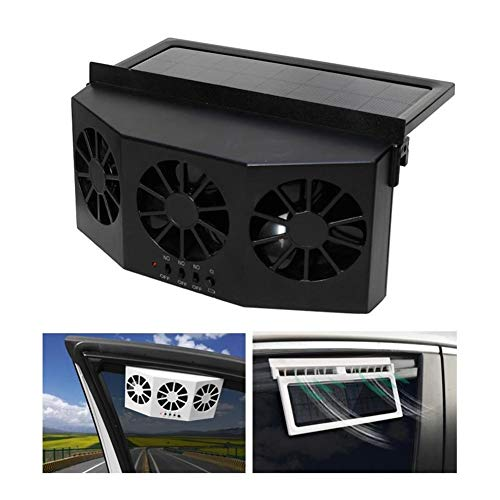 MASO Solar Powered 3 Fan Car Exhaust Fan,Car Radiator Fan, Energy Saving Air Vent Radiator Air Purifiers 2W ABS(Black)