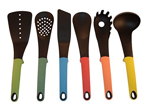 STARBER Kitchen Utensil Set - Modern, Colorful, Silicone Kitchen Utensils - Cooking Utensil Set with Turner, Slotted Spatula, Ladle, Solid and Slotted...