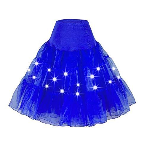Faldas para Mujer Casual Moda De Verano Falda De Mode De Marca Las Señoras 1950 Enagua De La Vendimia Underskirt Tutu Led Light Underskirt para Vestido De Rockabilly