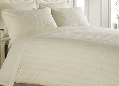 IVORY/CREAM DOUBLE Bed Size SEERSUCKER Print, Duvet Cover and Pillow Cases Bedding Set