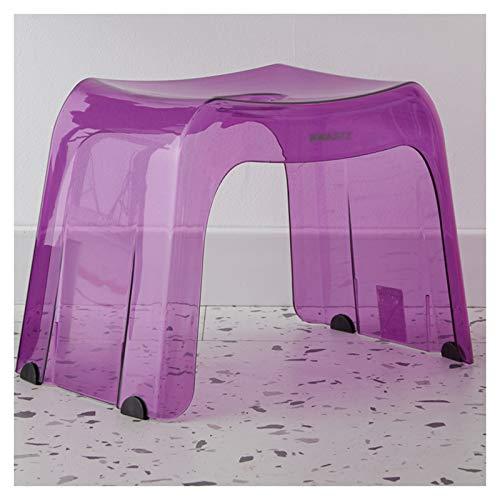 WWDZ Taburete de baño Transparente para niños y Adultos,Taburete pequeño Multifuncional para el hogar,Taburete de Cristal Antideslizante Grueso (12.6'x9.05'x11.02',Purple)