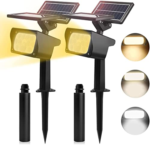MEIKEE Solar Strahler mit Bewegungsmelder, Solarleuchten für Außen mit Duale Solarpaneele, Superhelle Linse 3 Modi Solarstrahler Wasserdicht IP65,Solarleuchten für Gärten, Höfe und Schwimmbäder-2stk