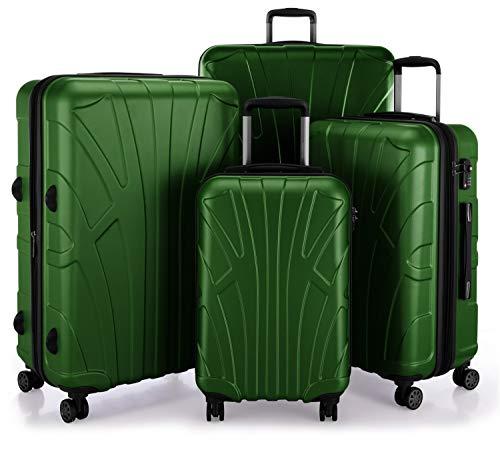 SUITLINE - Juego de 4 Piezas (55 cm, 66 cm, 76 cm, 85 cm), Maleta rígida giratoria, Trolley, TSA, 4 rudeas, Verde