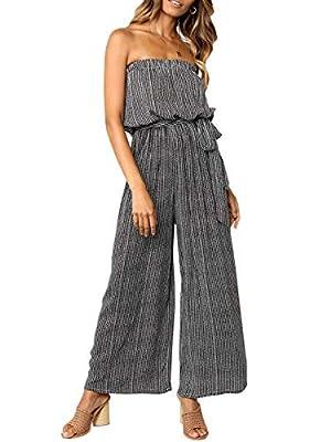 Miessial Women's Summer Sexy Tie Romper Off Shoulder Strapless Casual Jumpsuit Wide Leg Pants Jumpsuit Black 8
