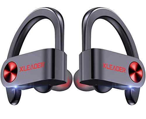 XLeader SoundAngel Sport3 Pro - Bluetooth 5.1 Sports Earbuds IPX7 Waterproof Wireless Running Headphones in Ear with LED Display Charging Case TWS Earphones with Micphones for Workout Fittness Gym Red