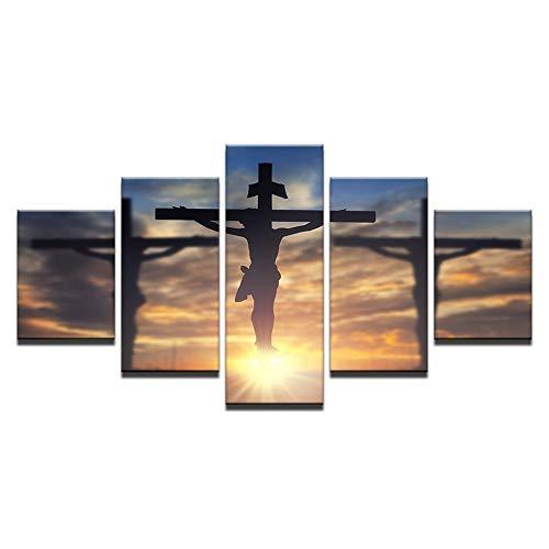 Cuadro Moderno en Lienzo Jesucristo Muriendo En La Cruz Imprime La Pintura De La Religión, 5 Piezas De Decoración Del Hogar Para La Imagen De La Sala De Estar, Enmarcado Listo Para Colgar Carteles E I