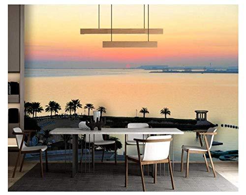3D Mural behang zonsondergang boven de zee Glow Bay landschap voor woonkamer slaapkamer sticker schilderij bank tv achtergrond kantoor kunst zijdedoek wooncultuur (W)140X(H)100cm