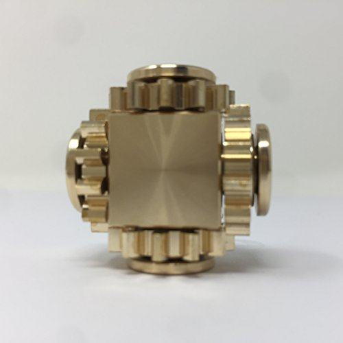 COOLCT Pure Brass Magic Cube Gears Linkage Fidget Spinner Gears Linkage Finger Hand Spinner Toy Anxiety Relief Toy Gifts