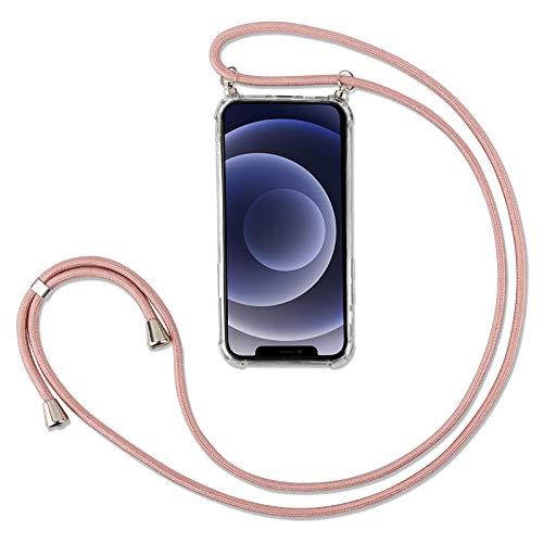 """Handykette Kompatibel mit iPhone 12/12 Pro Hülle mit Band Handyhülle für Smartphone zum Umhängen Schutzhülle mit Kordel Transparent Silikon Case 6.1"""", Roségold"""