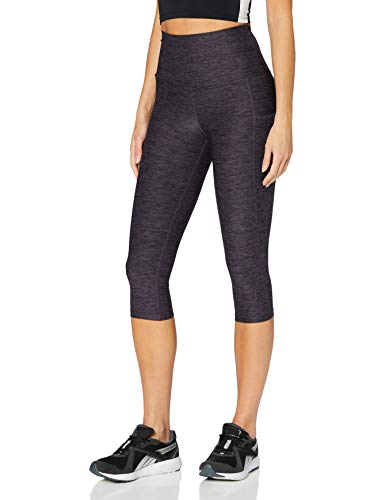 Amazon-Marke: AURIQUE Damen Capri-Lauf-Leggings mit hohem Bund, Lila (Nightshade Marl), 40, Label:L