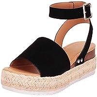 Sandalias Mujer Verano 2019 cáñamo Fondo Grueso Sandalias Punta Abierta Cuero Fondo Plano Zapatos Bohemias Romanas Hebilla Zapatillas Gris 35-43 riou (37, Negro)