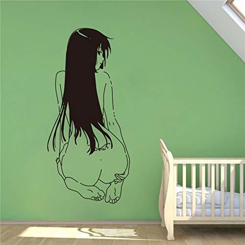 JXMN Decoración del hogar Pintura de Pared Calcomanía de Vinilo Calcomanía Anime Girl Sitting Back Wall Sticker 44 x 90 cm