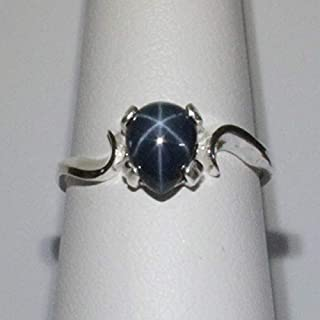 Genuine Blue Star Sapphire Sterling Silver Ring