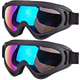 Suitable for Every Member of The Family: Bring these 2 essential snow ski goggles with your family or friends for winter outdoor sports. Goggles fit kids, teens, youth and adults (over 5 years old). Warm reminder, children should ski under the protec...