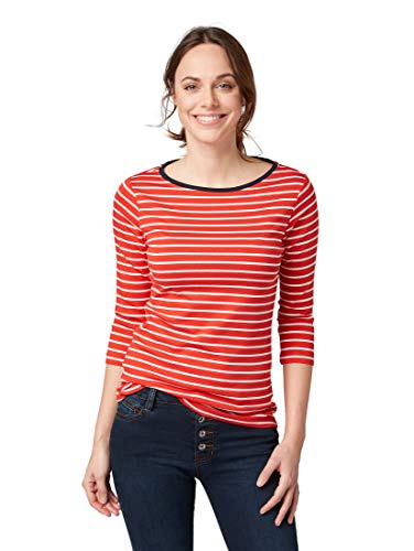 TOM TAILOR Damen T-Shirts/Tops Gestreiftes Shirt red Stripe,XL
