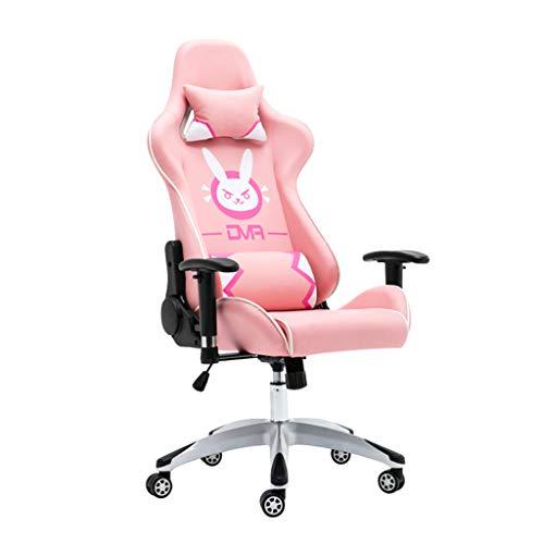 Chair Butaca de Juego E-Sports Silla Ordenador Personal Silla DVA Rosa Racing Silla Silla compartida Ancla giratoria Silla de Oficina,Rosado