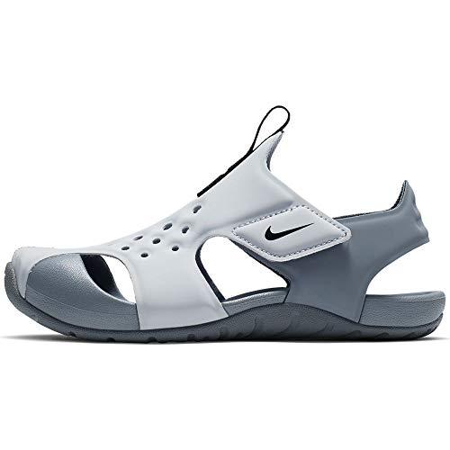Nike Sunray Protect 2 (PS) Slide Sandal, Wolf Grey/Black-Cool Grey, 35 EU