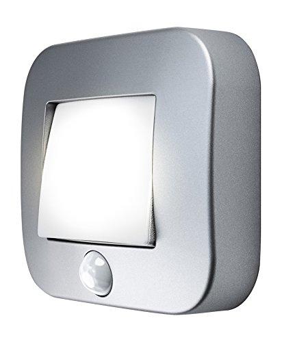 OSRAM - Veilleuse LED Nightlux Hall Gris Alu - Capteur de Mouvement et de Luminosité Intégrés - Fonctionne à Pile - Etanche IP54 - Blanc Froid 4000K