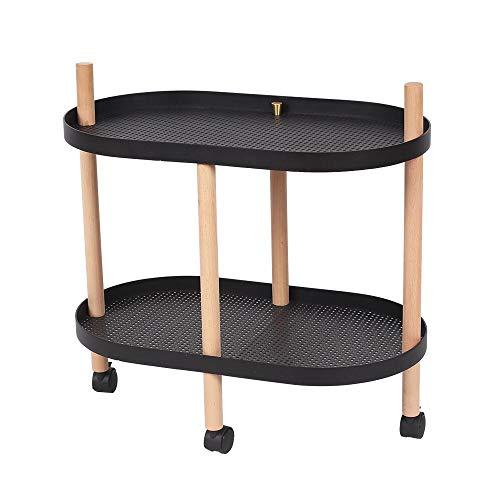 JCNFA planken beweegbare trolley ovale desktop massief hout benen 2 laag boekenplanken nachtkastje, voor badkamer, kantoor 23.22 * 13.38 * 22.83in Zwart