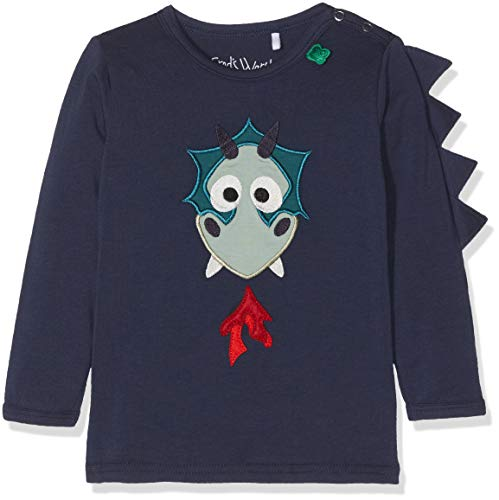 Fred'S World By Green Cotton Dragon Applique T Baby T-Shirt, Bleu (Navy 019392001), 24 Mois Bébé garçon