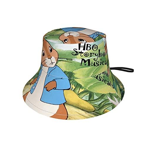 LoveOnHead - Berretto per bambini, con fascia per il mento regolabile, protezione solare per l'estate, da viaggio, da pesca, The Tale of Peter Rabbit Nero S