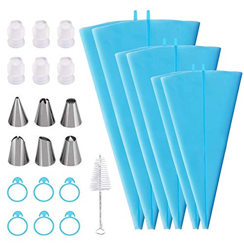 """25 Pcs Piping Bag and Tips Set, Cake Decorating Tools Kit for Baking, 6 Reusable Pastry Bags In 3 Sizes(12""""+14""""+16""""), 6 Different Piping Tips, 6 Bags Couplers, 6 Icing Bags Ties, 1 Cleaning Brush"""