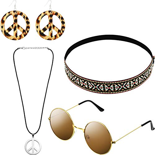 Hicarer Hippie Costume Set Include Sunglasses, Headband, Peace Sign Necklace and Earring (Bohemian Brown Style)