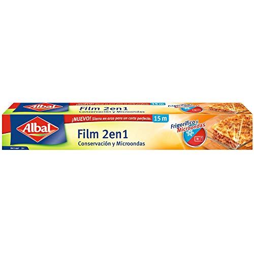 Albal Film Transparente 15 Metros 2 en 1 para Frigorífico y Microondas, Papel Film, Muy resistente, Muy Adherente, Muy Fácil de Cortar, Sierra en Arco
