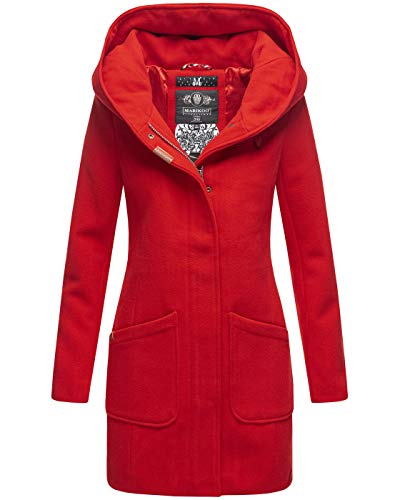Marikoo Damen Mantel Trenchcoat Wintermantel Übergangs Jacke Parka Lang B819 [B819-Maik-Rot-Gr.XL]