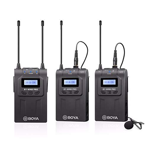 WM8 Pro-K2 UHF Sistema de micrófono inalámbrico Lavalier grabadora de audio con 2 transmisores de cuerpo, 1 receptor portátil compatible con cámaras Canon Nikon Sony Panasonic DSLR y XLR y sma