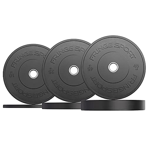 OneFitWonder Fringe Sport Durable Low Odor Black Bumper Plates for Weightlifting & Strength Training Equipment with a Dead Bounce, Weight Plates Sets, Ideal for Power Lifting (160)