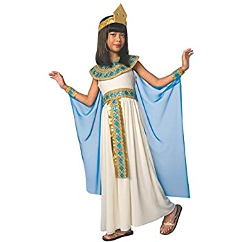 Girls Blue Cleopatra Costume Kids Egyptian Princess Dress Queen of The Nile Outfit - Medium  Age 7-9