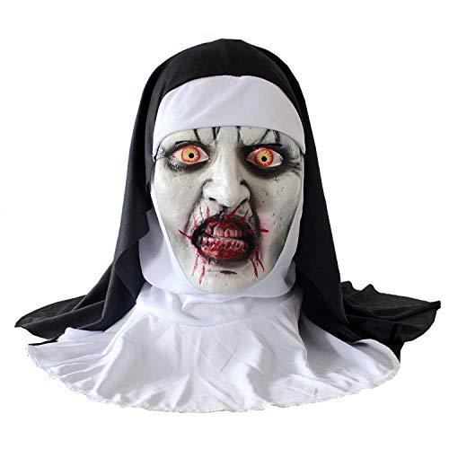JRKJ Maske - Traurige Weibliche Maske Halloween Horror Make-Up Maske Schlau Grimassieren Horror Unheimlich Latex Mit Kapuze Nonne