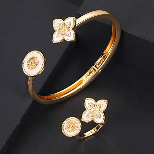 Bracelets Luxury Unique African Bangle Ring Set Jewelry Sets For Women Wedding Cubic Zircon Crystal CZ Dubai Bridal Jewelry Set Ladies bracelet ( Main Stone Color : Green , Metal color : Gold color )