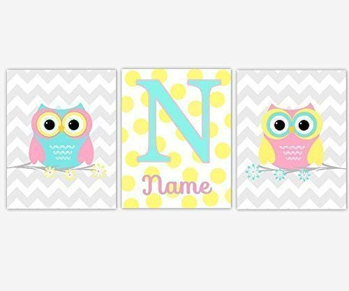 Girls Nursery Decor CANVAS Wall Art - Personalize Name, Pink Yellow Aqua Owls, Set of 3