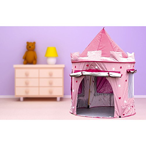 KiddyPlay Girls Play Tent - Pink Princess Pop-Up Castle - Childrens Indoor or Outdoor Garden Playhouse - Girls Wendy House - UV Sun Safe