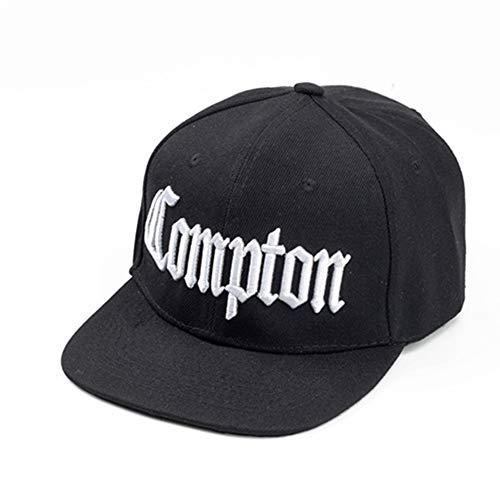 LSJYF Baseballkappe Compton Stickerei Baseball Hüte Mode Verstellbare Baumwolle Männer Mützen Traker Hut Frauen Snapback Cap SummerBlack