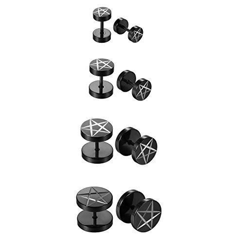 Herren Damen 4 Paare Edelstahl Ohrstecker Set schwarz , OIDEA Punk Rock vintage rund Creolen Ohrringe Set Huggie Piercing Ohr Stecker Durchmesser 6mm 8mm 10mm 12mm...