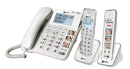 Geemarc Schnurgebundenes Seniorentelefon Pack Senior 295 Anrufbeantworter, Foto-Tasten, inkl. Mobilt