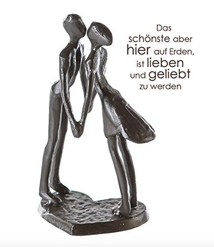 CMD Themen Figur, Skulptur mit Spruch und Weisheit, DAS SCHOENSTE Aber Hier AUF ERDEN, Eisen BRÜNIERT, wundervolles Design, 15 x 11 x 6 cm, tolle Geschenkidee
