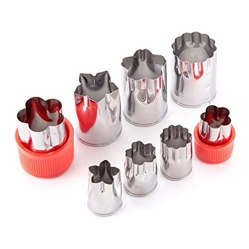 8 Pcs Stainless Steel Cookie Cutters - Flower Pattern Vegetable Cutter Shapes Set Decorative Food Tools Accessories Crafts, Fruit and Pastry Stamp Molds for Kid Baking and Food Supplement