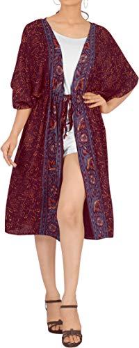 LA LEELA Damen Gedruckter Rayon Strand Kimono Cardigan Top Lose Schal Bikini Cover up Strandponcho Vintage Vertuschen Bluse Elegant kastanienbraun_K523