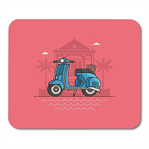 muismatten scooter geparkeerd in de buurt van villa en zee strand motor op weg motorfiets staande muis pad voor notebooks computers