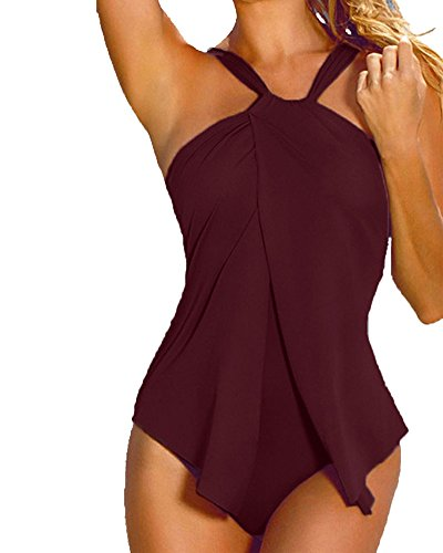SaiDeng Costume da Bagno con Culotte Costumi da Piscina Donna Bikini Intero Beachwear Trikini Bodeaux L