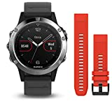 Garmin Fenix 5 - Multisport watch with HR and GPS, 47 mm, Silver pack 2 straps (Black and red)