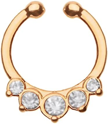 Rose Gold ip Clear cz 5 small prong set gem's Septum Clicker Fake Non piercing clip on Nose Ring Hoop Jewelry (No Piercing Required)