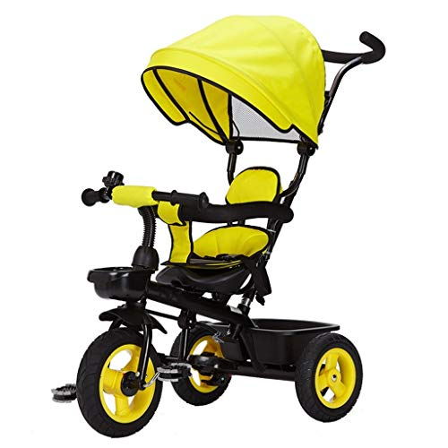 Triciclo for niños 4 en 1 Asiento reversible for niños Triciclo Cochecito de bebé Sillas de paseo Bicicleta de 3 ruedas con toldo, Empuñadura ajustable, Embrague de rueda, 1-3 años ( Color : Yellow )